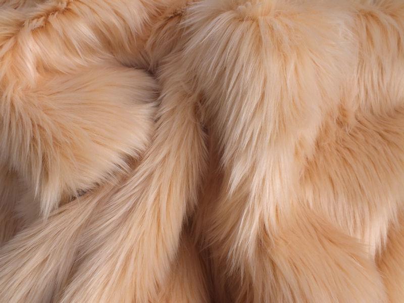 Latte Luxury 60mm Faux Fur Fabric Shag Pile