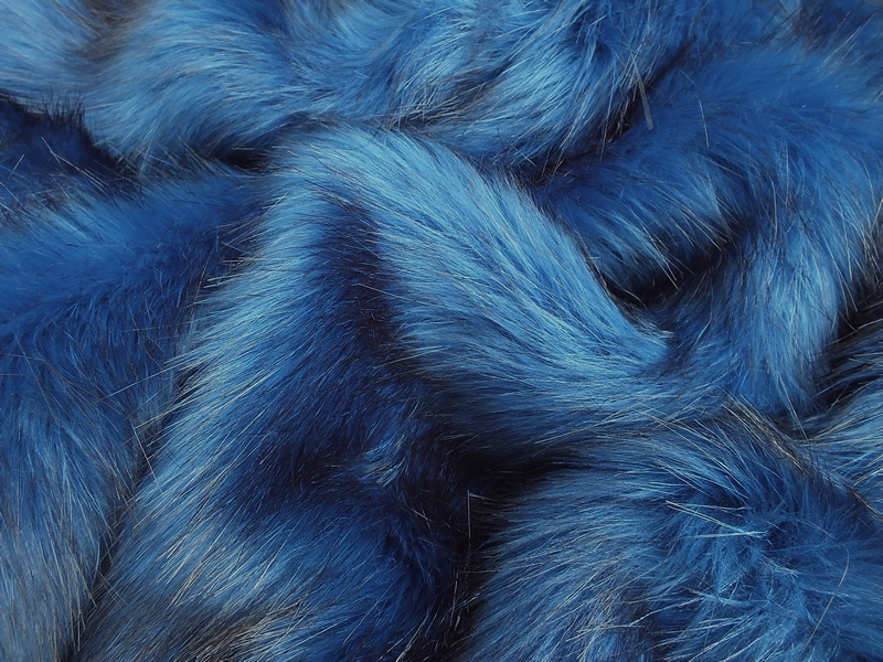 Faux Fur Fabric Royal Blue Long Pile 60mm Pile Mohair