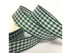 16mm Gingham Check Ribbon Forest Green