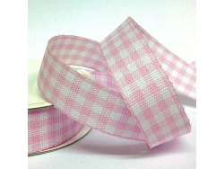 15mm Cottage Check Ribbon Pink