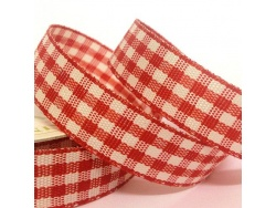 15mm Cottage Check Ribbon Red
