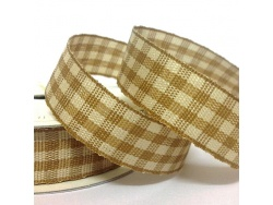 15mm Cottage Check Ribbon Antique Gold
