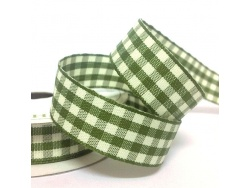 15mm Cottage Check Ribbon Moss