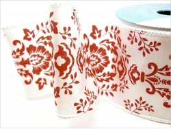 Red and White Damask Ribbon Roll  63mm