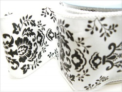 Black and White Damask Ribbon Roll  63mm