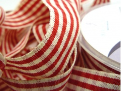 Rustic Gingham 25mm Ribbon Red