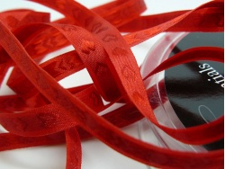 Red Satin heart 7mm Ribbon