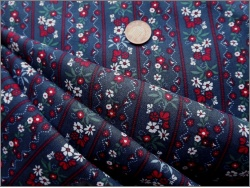 Cotton Navy Red Stripe floral 5