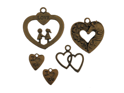 Mixed Decorative Hearts (bronze colour) PK103