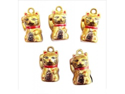 Lucky Chinese Gold Cat Bells x 2