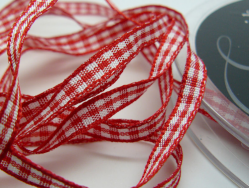 Rustic Gingham 5mm Ribbon Red