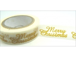 Washi Tape Merry Christmas Gold/White 10mm
