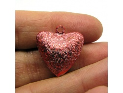 15mm Red Glitter Vintage Style Heart Bells x 2